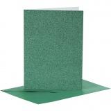 Karten & Kuverts, Grün, Kartengröße 10,5x15 cm, Umschlaggröße 11,5x16,5 cm, Glitter, 110+250 g, 4 Set/ 1 Pck.