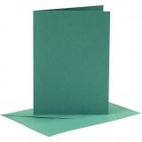 Karten & Kuverts, Dunkelgrün, Kartengröße 10,5x15 cm, Umschlaggröße 11,5x16,5 cm, 110+230 g, 6 Set/ 1 Pck.