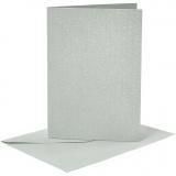 Briefkarte und Briefumschlag, Silber, Kartengröße 10,5x15 cm, Umschlaggröße 11,5x16,5 cm, Perlmutt, 120+210 g, 4 Set/ 1 Pck