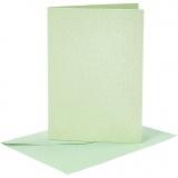 Briefkarte und Briefumschlag, Hellgrün, Kartengröße 10,5x15 cm, Umschlaggröße 11,5x16,5 cm, Perlmutt, 120+210 g, 4 Set/ 1 Pck