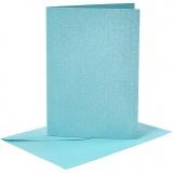 Briefkarte und Briefumschlag, Blau, Kartengröße 10,5x15 cm, Umschlaggröße 11,5x16,5 cm, Perlmutt, 120+210 g, 4 Set/ 1 Pck