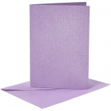 Briefkarte und Briefumschlag, Flieder, Kartengröße 10,5x15 cm, Umschlaggröße 11,5x16,5 cm, Perlmutt, 120+210 g, 4 Set/ 1 Pck