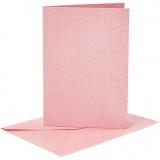 Briefkarte und Briefumschlag, Rosa, Kartengröße 10,5x15 cm, Umschlaggröße 11,5x16,5 cm, Perlmutt, 120+210 g, 4 Set/ 1 Pck