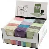 Karte & Kuvert - Sortiment, Sortierte Farben, Kartengröße 10,5x15 cm, Umschlaggröße 11,5x16,5 cm, 120+210 g, 12x10 Pck./ 1 Pck.