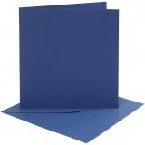 Karten & Kuverts, Blau, Kartengröße 15,2x15,2 cm, Umschlaggröße 16x16 cm, 220 g, 4 Set/ 1 Pck.