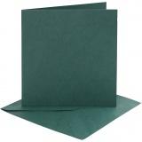 Karten & Kuverts, Dunkelgrün, Kartengröße 15,2x15,2 cm, Umschlaggröße 16x16 cm, 230 g, 4 Set/ 1 Pck.