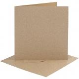 Karten & Kuverts, Natur, Kartengröße 15,2x15,2 cm, Umschlaggröße 16x16 cm, 230 g, 4 Set/ 1 Pck.