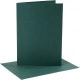 Karten & Kuverts, Dunkelgrün, Kartengröße 12,7x17,8 cm, Umschlaggröße 13,3x18,5 cm, 230 g, 4 Set/ 1 Pck.