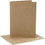 Karten & Kuverts, Natur, Kartengröße 12,7x17,8 cm, Umschlaggröße 13,3x18,5 cm, 230 g, 4 Set/ 1 Pck.