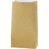 Papiertüten, Gold, H: 17 cm, Größe 6x9 cm, 170 g, 8 Stck./ 1 Pck.