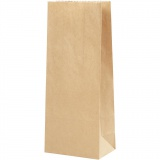 Papiertüten, Braun, Größe 9x6,5x22,5 cm, 50 g, 100 Stck./ 1 Pck.