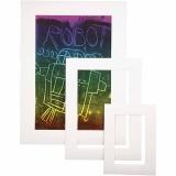 Passepartout-Rahmen, Weiß, A3,A4,A5, dicke 0,4 mm, 270 g, 75 Stck./ 1 Pck.