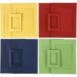 Passepartout-Rahmen, Blau, Grün, Rot, Gelb, Größe A4+A6 , 2x60 Stck./ 1 Pck.