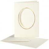 Passepartout-Karten mit Kuvert, Naturweiß, Ovaler Ausschnitt mit Goldkante, Kartengröße 10,5x15 cm, Umschlaggröße 11,5x16,5 cm, 10 Set/ 1 Pck.