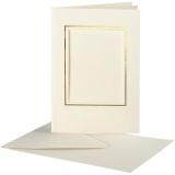 Passepartout-Karten mit Kuvert, Naturweiß, Rechteckiger Ausschnitt mit Goldkante, Kartengröße 10,5x15 cm, Umschlaggröße 11,5x16,5 cm, 10 Set/ 1 Pck.