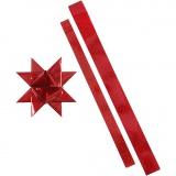Folienstreifen für Fröbelsterne, Rot, Rot mit Glitter, L: 86+100 cm, B: 25+40 mm, D: 11,5+18,5 cm, 16 Streifen/ 1 Pck.