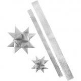 Folienstreifen für Fröbelsterne, Glitter silber, L: 86+100 cm, B: 25+40 mm, D: 11,5+18,5 cm, 16 Streifen/ 1 Pck.