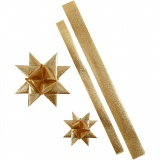 Folienstreifen für Fröbelsterne, Gold mit Glitter, L: 86+100 cm, B: 25+40 mm, D: 11,5+18,5 cm, 16 Streifen/ 1 Pck.
