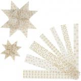 Papierstreifen für Fröbelsterne, Gold, Weiß, L: 44+78 cm, B: 15+25 mm, D: 6,5+11,5 cm, 48 Streifen/ 1 Pck