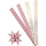 Papierstreifen für Fröbelsterne, Gold, Rot, Weiß, L: 100 cm, D: 18 cm, B: 40 mm, 40 Streifen/ 1 Pck.