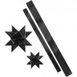 Folienstreifen für Fröbelsterne, Schwarz, L: 86+100 cm, B: 25+40 mm, D: 11,5+18,5 cm, 16 Streifen/ 1 Pck.