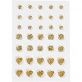 Strasssteine, Gold, rund, quadratisch, herzförmig, Größe 6+8+10 mm, 35 Stck./ 1 Pck.