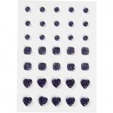 Strasssteine, Blau, rund, quadratisch, herzförmig, Größe 6+8+10 mm, 35 Stck./ 1 Pck.