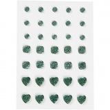 Strasssteine, Grün, rund, quadratisch, herzförmig, Größe 6+8+10 mm, 35 Stck./ 1 Pck.