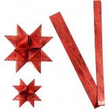 Papierstreifen für Flechtsterne, Rot, L: 44+78 cm, D: 6,5+11,5 cm, B: 15+25 mm, 32 Streifen/ 1 Pck.