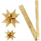 Papierstreifen für Flechtsterne, Gold, L: 44+78 cm, D: 6,5+11,5 cm, B: 15+25 mm, 32 Streifen/ 1 Pck.