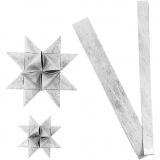 Papierstreifen für Flechtsterne, Silber, L: 44+78 cm, D: 6,5+11,5 cm, B: 15+25 mm, 32 Streifen/ 1 Pck.