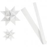 Papierstreifen für Flechtsterne, Weiß, L: 44+78 cm, D: 6,5+11,5 cm, B: 15+25 mm, 32 Streifen/ 1 Pck.