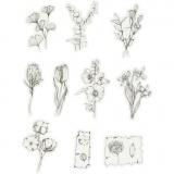 Motiv-Sticker, Blumen schwarz/weiß, Größe 30-50 mm, 30 Stck./ 1 Pck.