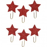 Papier-Klammern aus Metall, Rot mit Glitter, Stern, D: 30 mm, 6 Stk/ 1 Pck