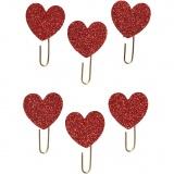 Papier-Klammern aus Metall, Rot mit Glitter, Herz, D: 30 mm, 6 Stk/ 1 Pck