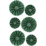 Papier-Rosetten, Grün mit Glitter, D: 35+50 mm, 6 Stck./ 1 Pck.