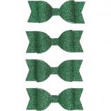 Papier-Schleifen, Grün mit Glitter, Größe 31x85 mm, 4 Stck./ 1 Pck.