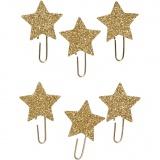Papier-Klammern aus Metall, Gold mit Glitter, Stern, D: 30 mm, 6 Stk/ 1 Pck