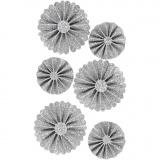 Papier-Rosetten, Glitter silber, D: 35+50 mm, 6 Stck./ 1 Pck.