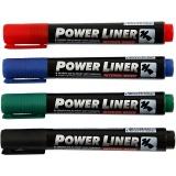 Power Liner, Schwarz, Blau, Grün, Rot, Strichstärke 1,5-3 mm, 4 Stck./ 1 Pck.
