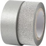 Design-Klebeband, Silber, B: 15 mm, 2 Rolle/ 1 Pck
