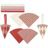 Flechttüten, Rot, Weiß, H: 19,3 cm, B: 9,2 cm, 8 Set/ 1 Pck.