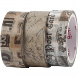 Washi Tape, Briefpost, L: 5 m, B: 15 mm, 3 Rolle/ 1 Pck