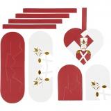 Flechtherzen, Gold, Rot, Weiß, Größe 12,5x11,5 cm, 8 Set/ 1 Pck.