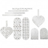Flechtherzen, Silber, Weiß, Größe 12,5x11,5 cm, 120 g, 8 Set/ 1 Pck.