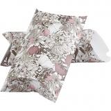 Faltbare Geschenkbox, Beige, Braun, Rosa, Weiß, Blumen, Größe 23,9x15x6 cm, 300 g, 3 Stck./ 1 Pck.