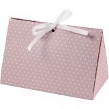 Geschenkverpackung, Rosa, Weiß, Punkte, Größe 15x7x8 cm, 250 g, 3 Stck./ 1 Pck.