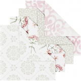 Origami-Papier, Grün, Grau, Rosa, Weiß, Größe 10x10 cm, 80 g, 40 Bl./ 1 Pck.