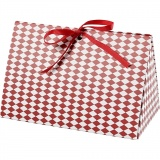 Geschenkverpackung, Rot, Weiß, Harlekin-Muster, Größe 15x7x8 cm, 250 g, 3 Stck./ 1 Pck.