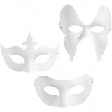 Masken - Sortiment, Weiß, H: 10-20 cm, B: 18-20 cm, 3x4 Stck./ 1 Pck.